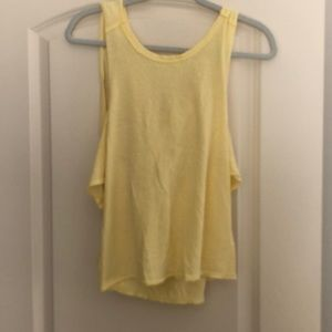 FP yellow cold shoulder cross back t-shirt